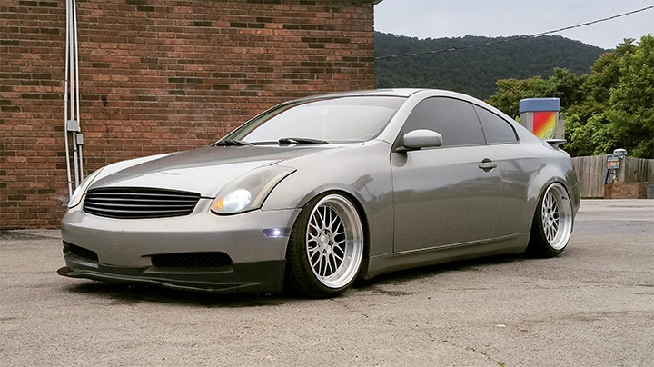Infiniti G35 Coupe Lowered on Raceland Coilovers