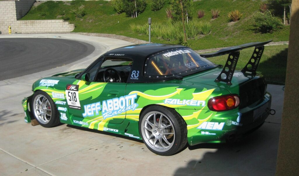 Enkei PF01 rims on Jeff Abbott's drift Miata. Photo: Jeff Abbott