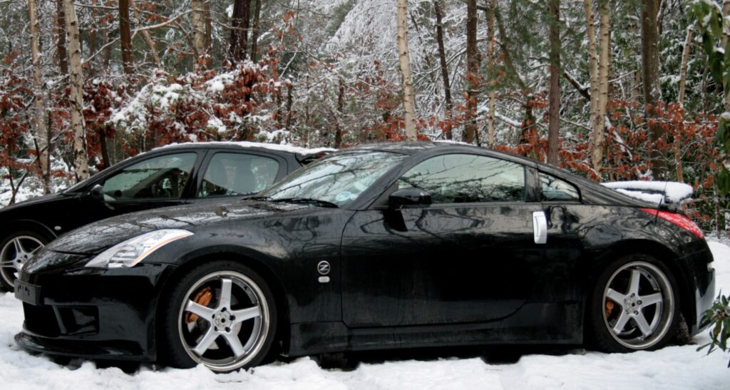 Nissan 350z surrounded by snow