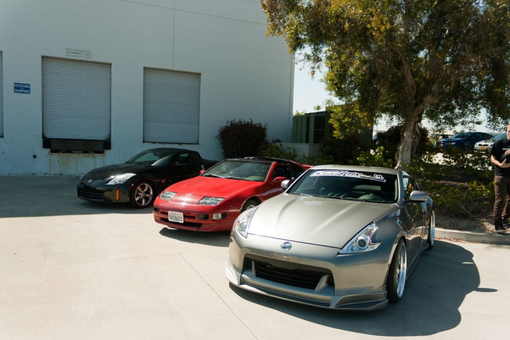 Nissan 350z and 370z next to their ancestor, the Nissan 300zx
