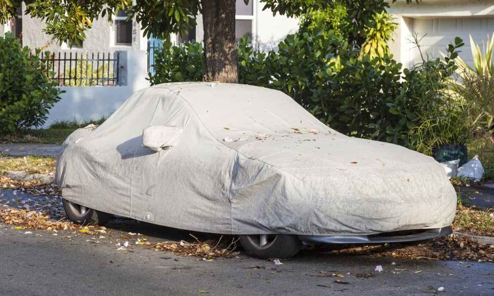 Mazda Miata under a car cover outdoors under a tree