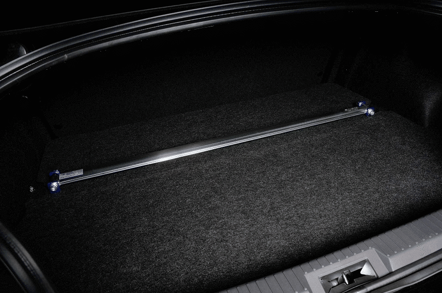 A Cusco rear strut tower bar installed in a Toyota GT86