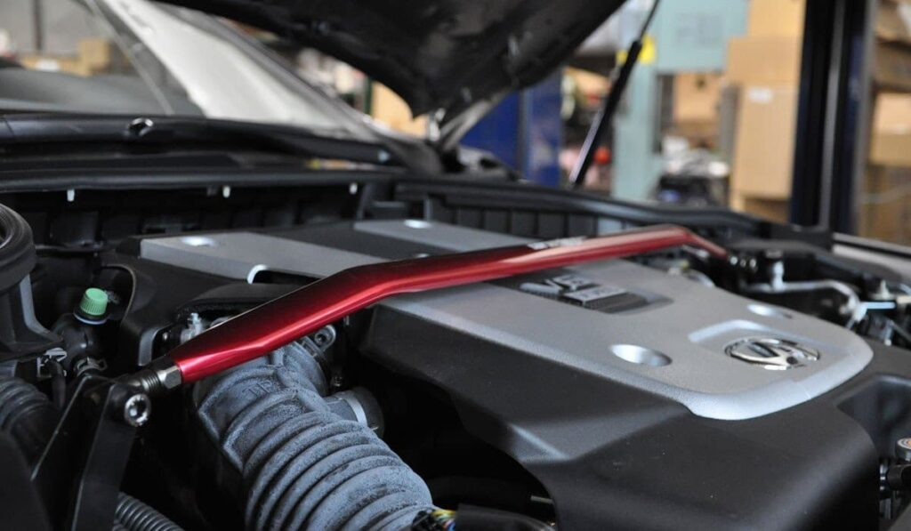 Tanabe front strut bar installed on an Infiniti G35
